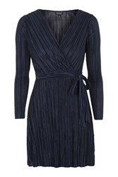 Topshop Long Sleeved Pleat Wrap Dress Navy Blue