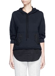 3.1 Phillip Lim Twill Hem French Terry Utility Sweatshirt Black