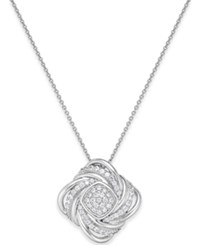 Macy's Diamond Swirl Pendant Necklace 1 2 Ct. T.W. In Sterling Silver No Color