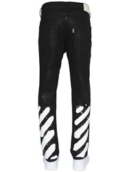 Off White Spray Stripes Coated Denim Jeans
