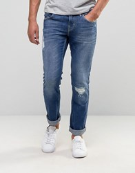 Boss Orange By Hugo 63 Slim Distress Jeans Light Wash Light Distressed Blue