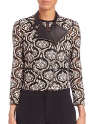 Yigal Azrouel Embroidered Lace Moto Jacket