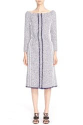 Oscar De La Renta Summer Tweed Boatneck Dress Blue