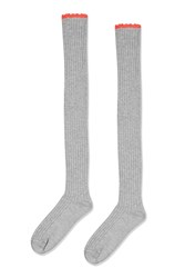 Topshop Scallop Over The Knee Socks Grey Marl