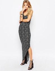 Noisy May Asymmetric Printed Maxi Grey Melange