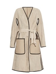 Bottega Veneta Single Breasted Shearling Cuff Suede Coat Cream