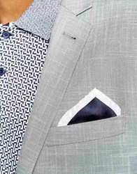 Reiss Plain Silk Pocket Square Blue