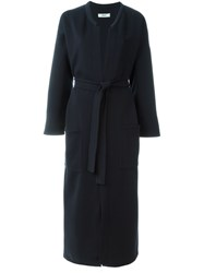 Humanoid Long Belted Coat Blue