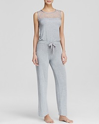 Pj Salvage Lace Inset Lounge Jumpsuit Heather Gray