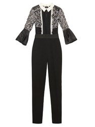 Self Portrait Lace Panel Bell Sleeved Jumpsuit Black White