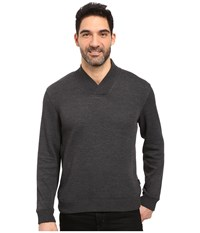 Perry Ellis Textured Crossover V Neck Charcoal Heather Men's Clothing Gray