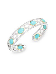 Jude Frances Turquoise And 18K Yellow Gold Trim Bangle Bracelet No Color