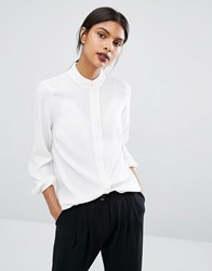 Y.A.S Mily Long Sleeve Ruffle Detail Collar Shirt Snow White