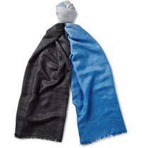 Berluti Tie And Dye Cashmere And Silk Blend Scarf Blue