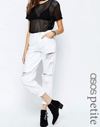 Asos Petite Original Mom Jeans In White With Extreme Rips White