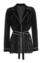 Alberta Ferretti Velvet Blazer With Belt Black