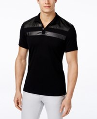 Inc International Concepts Faux Leather Men's Parabola Polo Only At Macy's Deep Black