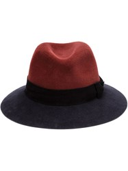 Maison Michel Two Tone Fedora Hat Red