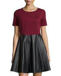 Romeo And Juliet Couture Short Sleeve Faux Leather Dress Ox Blood
