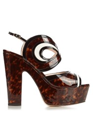 Nicholas Kirkwood Graffiti Cut Out Leather Platform Sandals Brown Multi