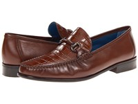 Florsheim Sarasota Bit Cognac Smooth Croco Print Men's Slip On Dress Shoes Brown