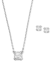 Swarovski Rhodium Plated Clear Crystal Square Stud Earrings And Pendant Necklace