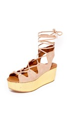 See By Chloe Lilly Wedge Lace Up Sandals Cipria