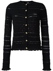 Love Moschino Button Down Striped Cardigan Black
