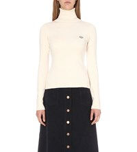 See By Chloe Turtleneck Cotton Blend Jumper Cloud White