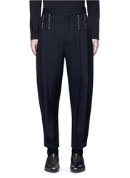 Haider Ackermann Triple Pleated Wide Leg Fleece Wool Pants Black