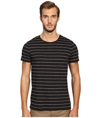Vince Cotton Modal Shadow Stripe Short Sleeve Crew Black Men's Clothing