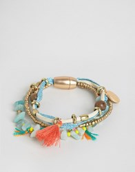 Ny Lon Nylon Multi Pack Of Festival Beaded Tassel Bracelets Multi