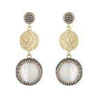 Soru Jewellery Mother Of Pearl And Coin Earrings Gold
