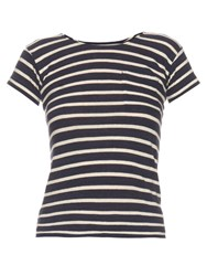 Nlst Mid Weight Striped Cotton T Shirt Navy White