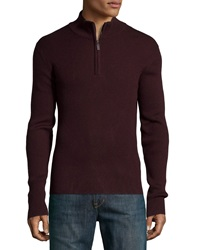 Neiman Marcus Ribbed Quarter Zip Sweater Black Currant