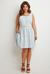 Forever 21 Plus Size Crochet Paneled Chambray Dress Light Blue Cream