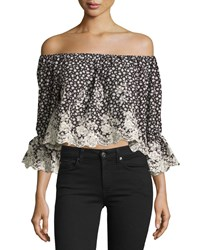 Romeo And Juliet Couture Embroidered Floral Cropped Blouse Black White