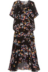 Preen Melina Floral Print Silk Georgette Midi Dress Black