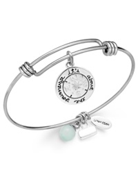 Unwritten Journey Charm And Amazonite 8Mm Bangle Bracelet In Stainless Steel