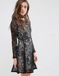 Miss Selfridge Lace Skater Dress Black
