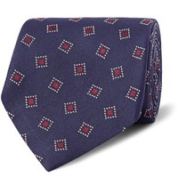 Dunhill 8Cm Woven Mulberry Silk Twill Tie Midnight Blue