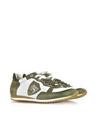 D'acquasparta Venezia White Leather And Green Suede Sneaker