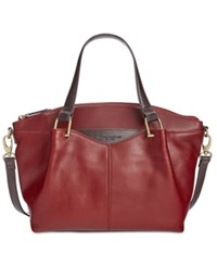 Tignanello Classic Equestrian Vintage Leather Satchel Rouge Dark Brown