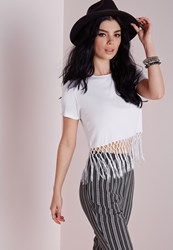 Missguided Fringe Hem T Shirt White
