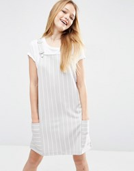 Asos Pinafore Dress In Ponte With Stripe Multi