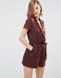 Asos Grid Check Playsuit Burgundy Red
