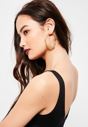 Missguided Gold Chain Detail Hoop Earrings