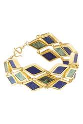 Pippa Small Gold Plated Silver Bracelet With Chrysocolla And Lapis Gr. One Size