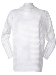 N Duo Mesh Turtleneck Jersey White