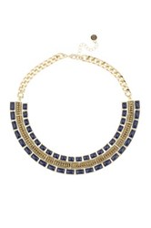 House Of Harlow Lapis And Rhinestone Collar Necklace Metallic
